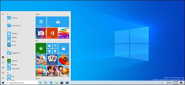 A Windows 10 desktop featuring the April 2019 Update's new light theme